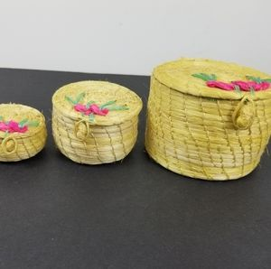 3 small hand woven straw basket